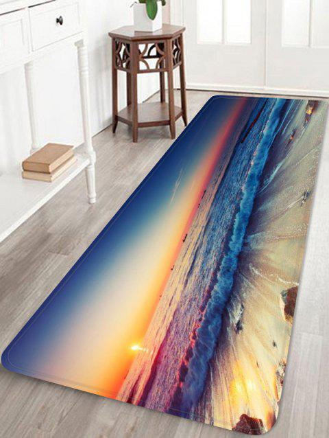 Sunset Sea Waves Scenery Printed Area Rug - multicolor W24 INCH * L71 INCH