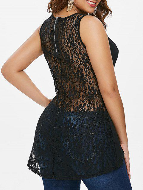Rivet Shoulder Lace Back Tank Top - BLACK S