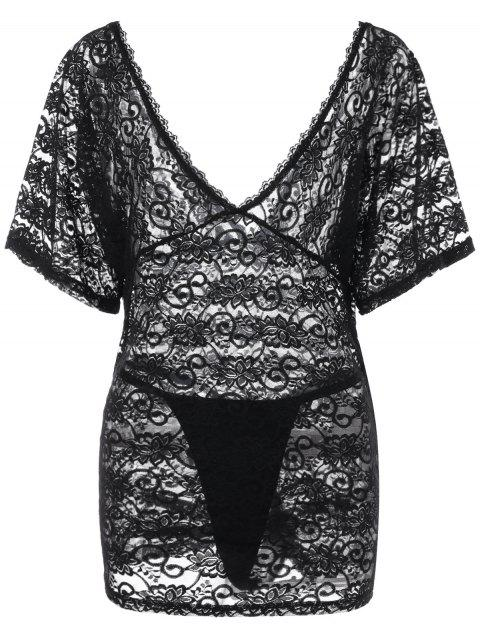 Plus Size Sheer Lace Plunging Nightdress - BLACK XL