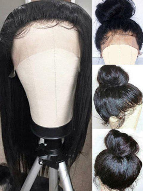 Long Inclined Fringe Straight Lace Front Synthetic Wig - BLACK