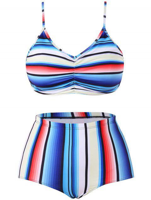 Colorful Striped Plus Size Bikini Set - multicolor 5X