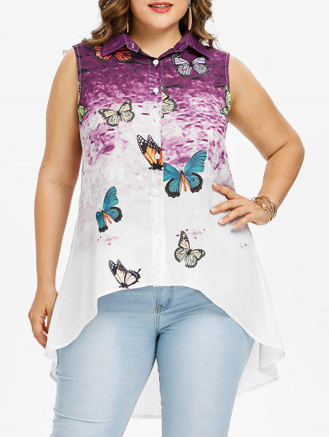 Plus Size Butterfly High Low Tank Top - PURPLE 4X