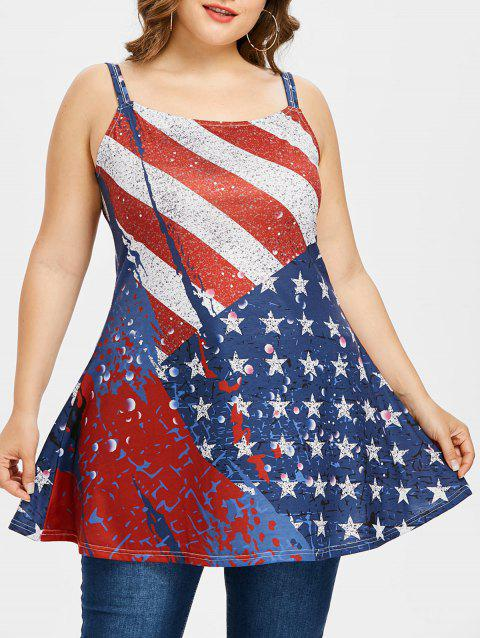 Plus Size American Flag Pattern Tank Top - LOVE RED 5X