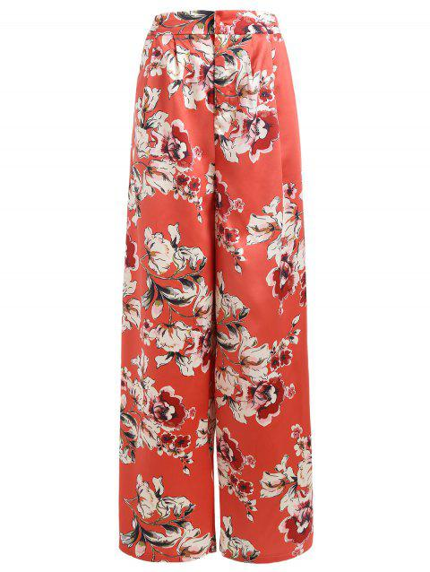 Side Slit Full Floral Satin Palazzo Pants - VALENTINE RED S