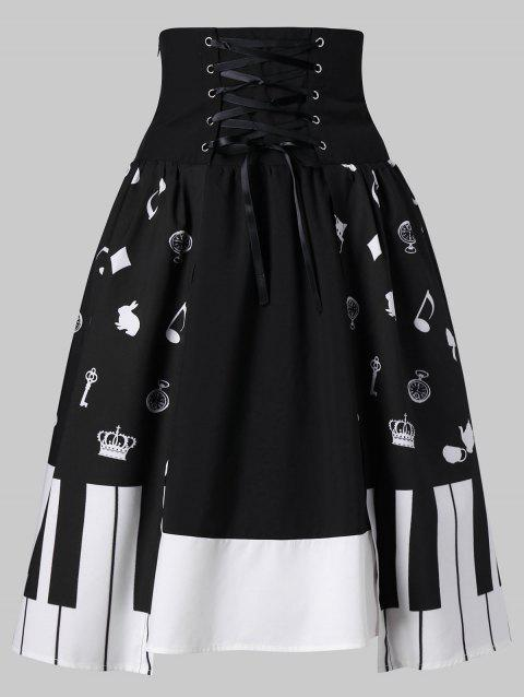 High Waist Piano Key Skirt - WHITE/BLACK M