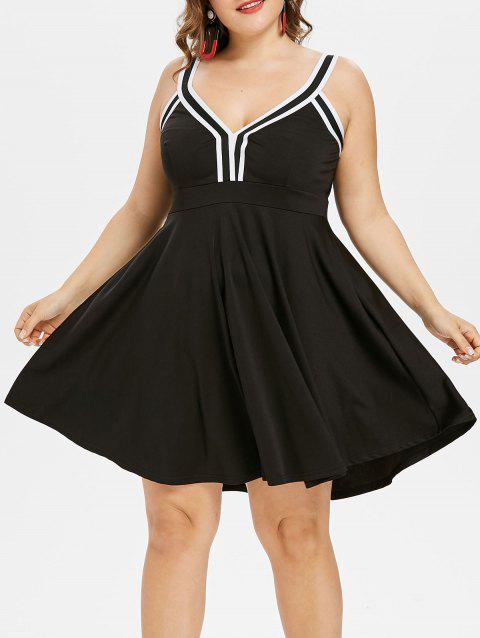 Plus Size V Neck Skater Dress - BLACK L