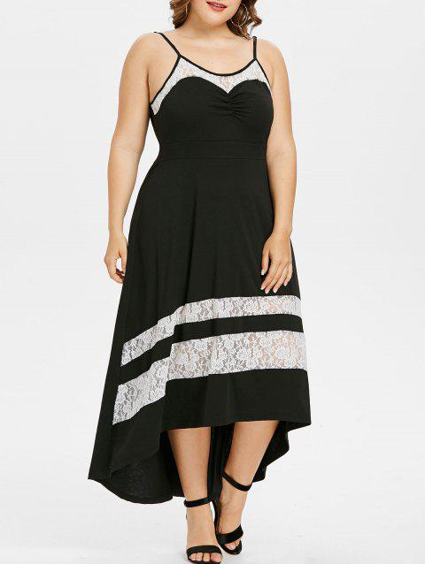 Plus Size Spaghetti Strap Lace Trim Dress - BLACK 3X