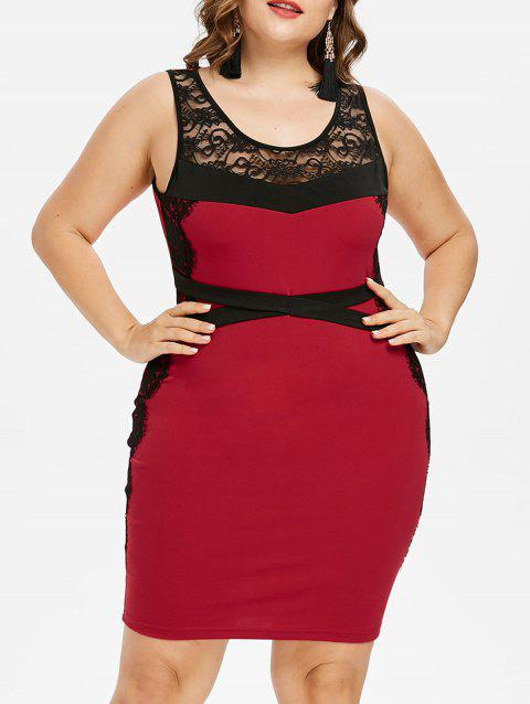 Plus Size Two Tone Scoop Neck Sleeveless Dress - RED 3X