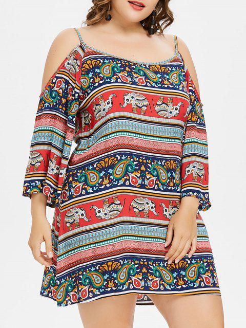 Plus Size Paisley Cold Shoulder Tunic Dress - RED 2X