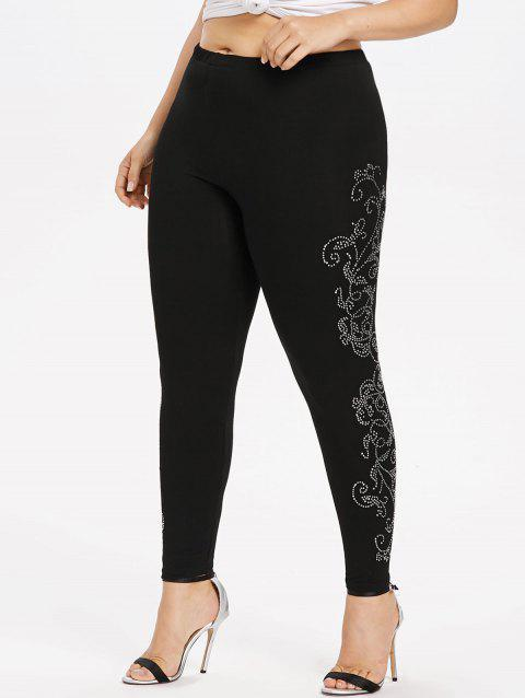 Plus Size Rhinestone Sides Glittery Leggings - BLACK 1X