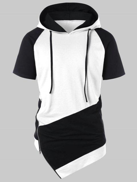Asymmetrical Drawstring Color Block Hoodie - WHITE L