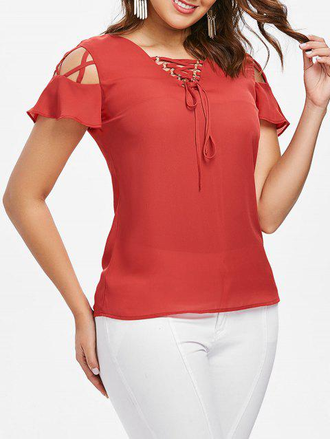 Lace Up Ruffle Sleeve Blouse - FIRE ENGINE RED S