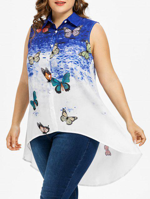 ab7fe143faf LIMITED OFFER  2019 Plus Size Butterfly High Low Tank Top In BLUE 1X ...