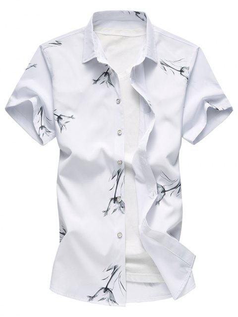 Button Up Flower Wash Painting Print Shirt - WHITE XL