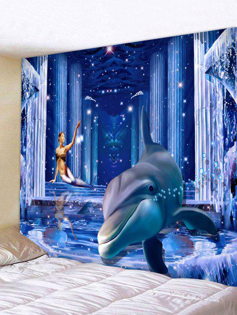 3D Dolphin Palace Print Wall Hanging Fabric Tapestry - OCEAN BLUE W79 INCH * L59 INCH