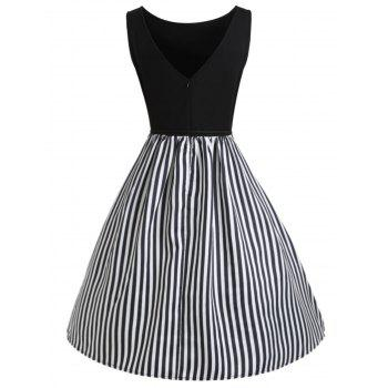 Stripe Panel Sleeveless Casual Dress with Button - BLACK L