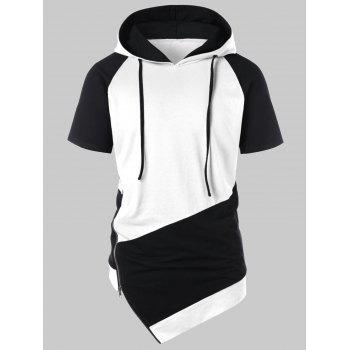 Asymmetrical Drawstring Color Block Hoodie