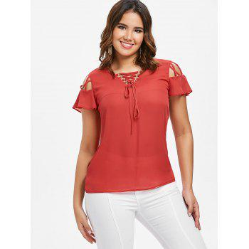 Lace Up Ruffle Sleeve Blouse - FIRE ENGINE RED M