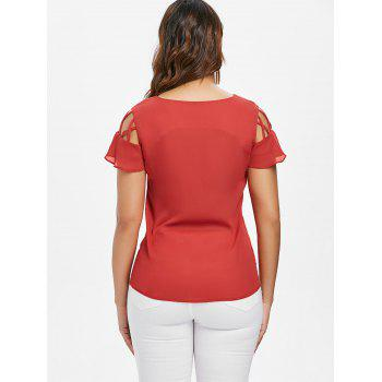 Lace Up Ruffle Sleeve Blouse - FIRE ENGINE RED L