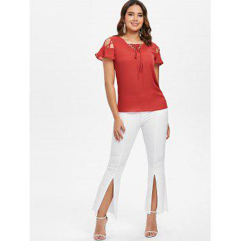 Lace Up Ruffle Sleeve Blouse - FIRE ENGINE RED XL