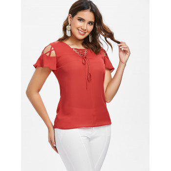 Lace Up Ruffle Sleeve Blouse - FIRE ENGINE RED 2XL
