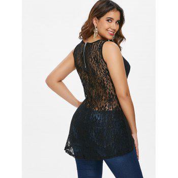 Rivet Shoulder Lace Back Tank Top - BLACK 2XL