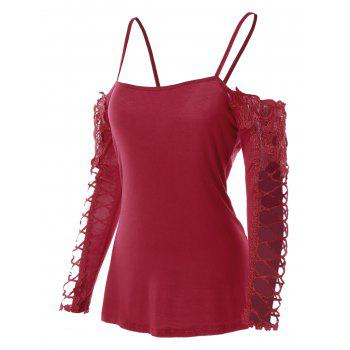 Spaghetti Strap Cold Shoulder Lace Insert Tee - RED WINE M