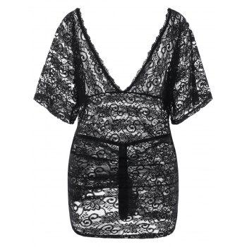 Plus Size Sheer Lace Plunging Nightdress - BLACK 2XL