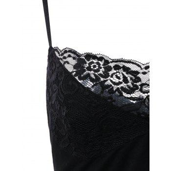 Plus Size Lace Scalloped Edge Babydoll - BLACK 2XL