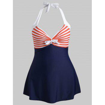 Plus Size Striped Bowknot Swimsuit - MIDNIGHT BLUE 3X