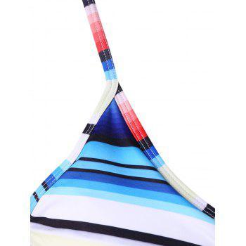 Colorful Striped Plus Size Bikini Set - multicolor L