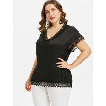 Plus Size Short Sleeve Lace Trim T-shirt - BLACK 2X