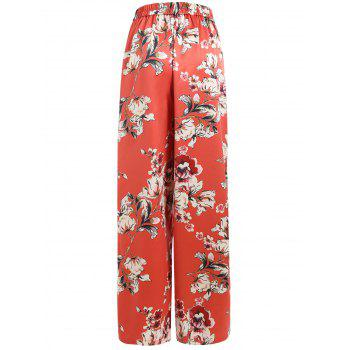 Side Slit Full Floral Satin Palazzo Pants - VALENTINE RED M