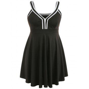 Plus Size V Neck Skater Dress - BLACK 1X