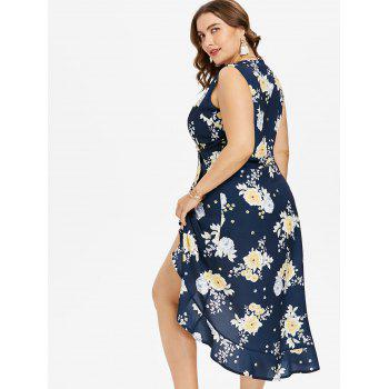 Plus Size Print Ruffle Overlap Dress - DEEP BLUE L