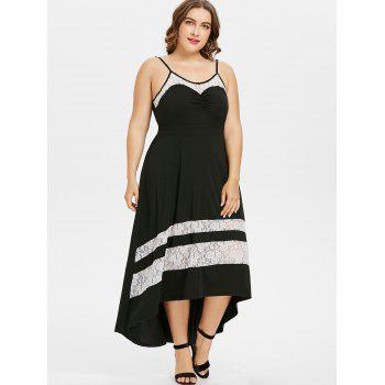 Plus Size Spaghetti Strap Lace Trim Dress - BLACK L