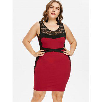 Plus Size Two Tone Scoop Neck Sleeveless Dress - RED 1X