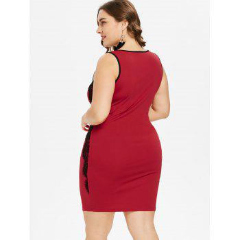 Plus Size Two Tone Scoop Neck Sleeveless Dress - RED 4X
