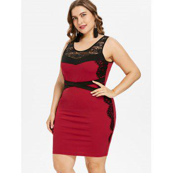 Plus Size Two Tone Scoop Neck Sleeveless Dress - RED 5X
