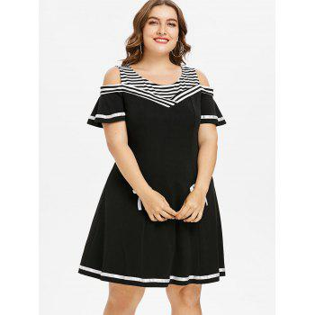 Plus Size Striped Trim Cold Shoulder Dress - BLACK 5X