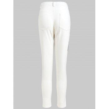 High Waist Lace Panel Pencil Pants - WHITE L