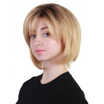Short Inclined Fringe Straight Bob Colormix Human Hair Wig - multicolor