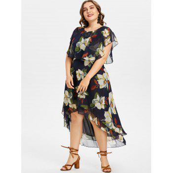 Plus Size Flower Capelet Dress - MIDNIGHT BLUE 1X