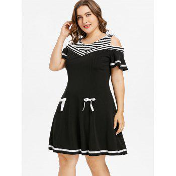 Plus Size Striped Trim Cold Shoulder Dress - BLACK 3X