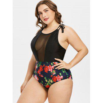 Plus Size Floral High Waisted Swimsuit - BLACK 1X