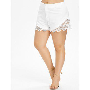 Plus Size Crochet Trim Scalloped Shorts - WHITE L