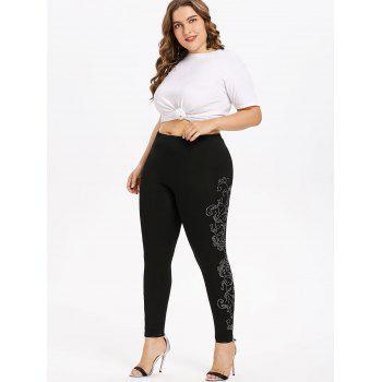Plus Size Rhinestone Sides Glittery Leggings - BLACK L