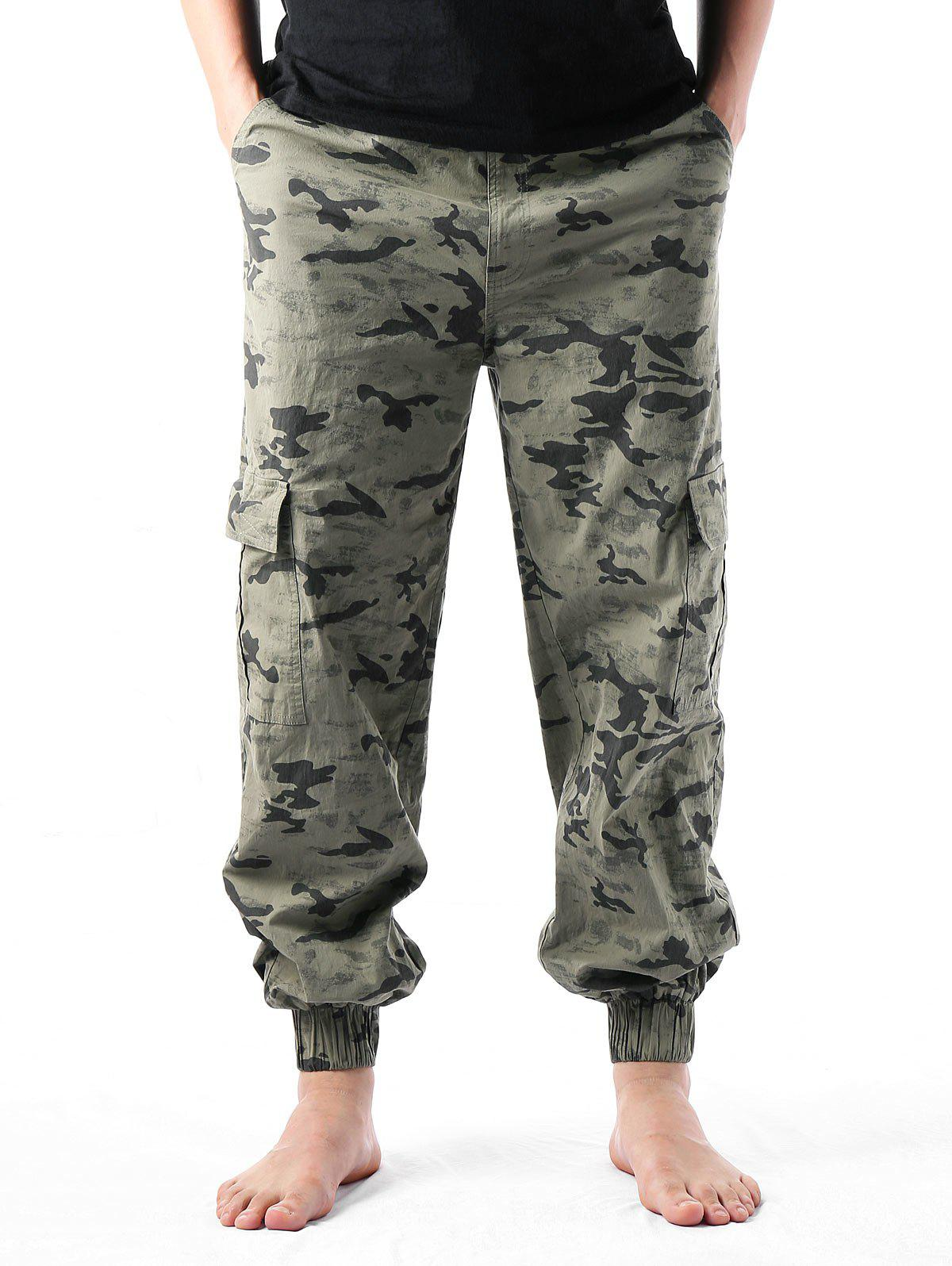Narrow Feet Camouflage Print Multi-pockets Cargo Pants - ARMY GREEN M