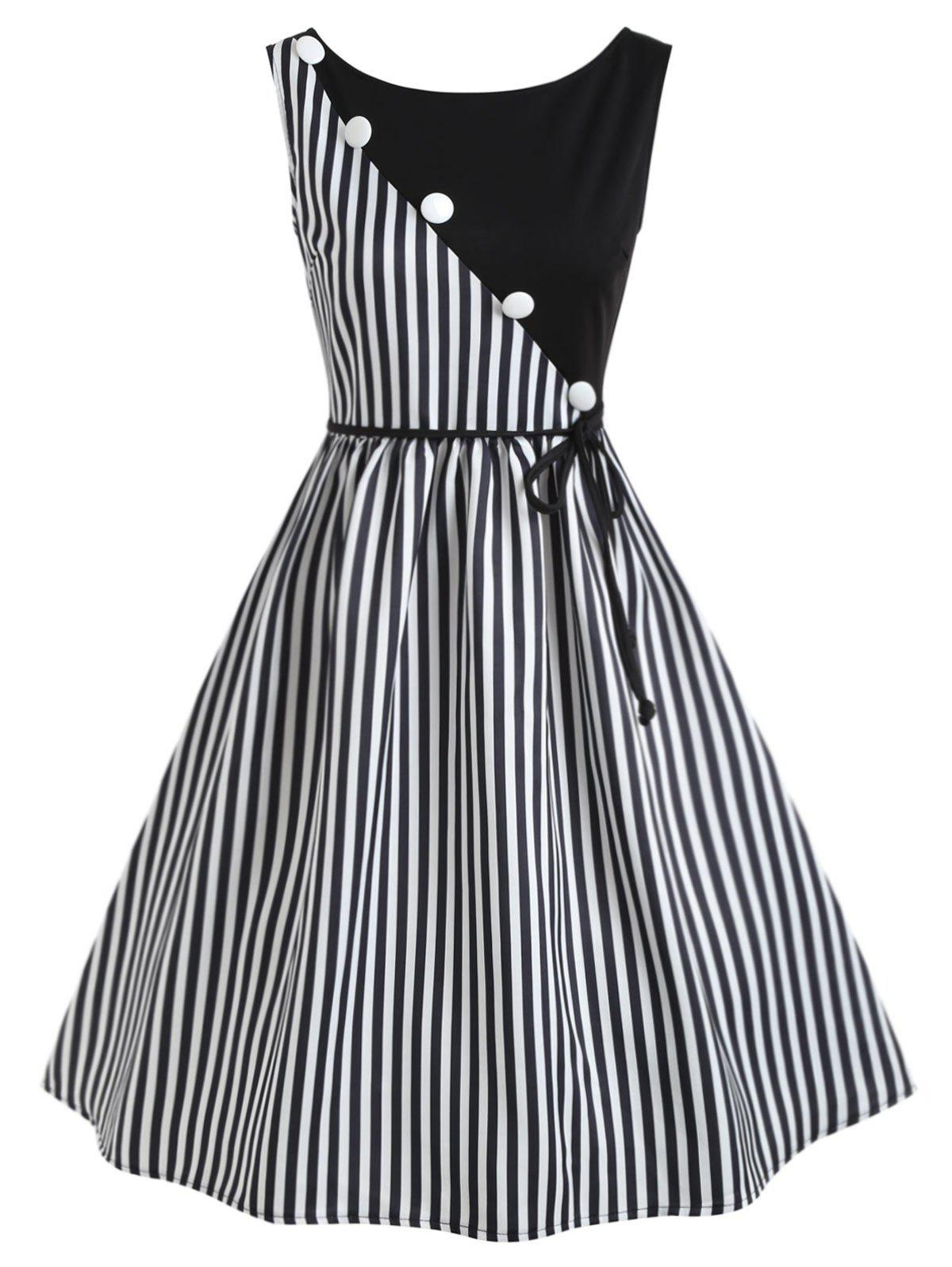 Stripe Panel Sleeveless Casual Dress with Button - BLACK S