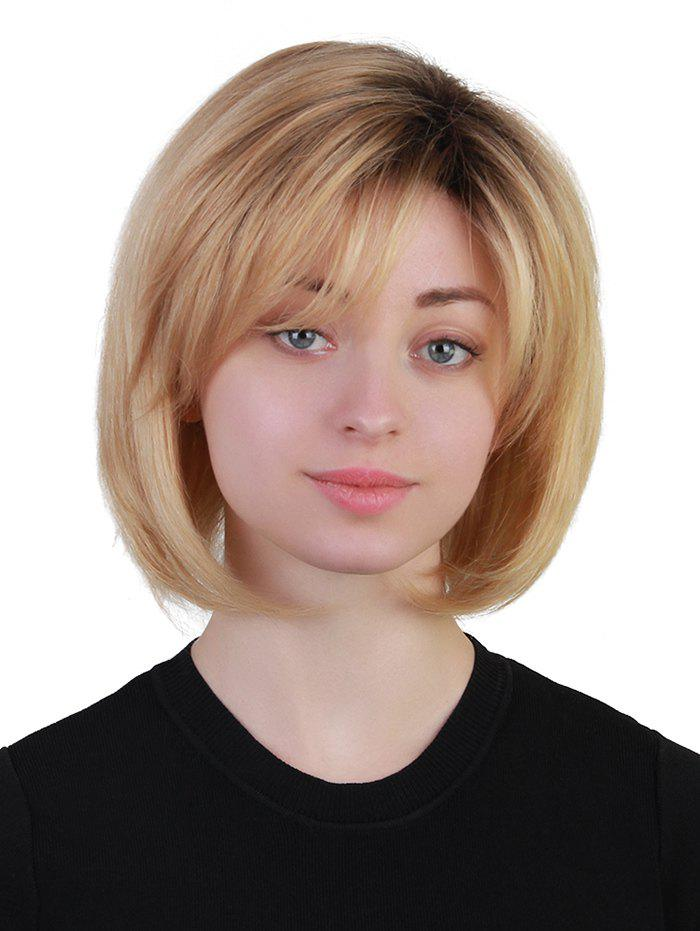 Short Inclined Fringe Straight Bob Colormix Human Hair Wig new design free shipping high density pp shell ice hockey player helmet field hockey helmet with a3 steel cage